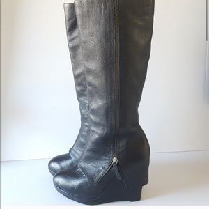 DKNY Leather Wedge Boot